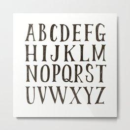 Alphabet A-Z Black and White Metal Print
