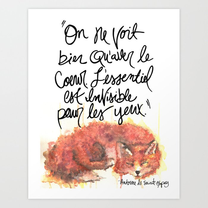 The Little Prince Quote, fox Art Print