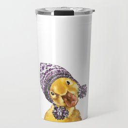 Baby Yellow Duck with Winter Hat Travel Mug