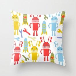 Robots pattern F4 Throw Pillow