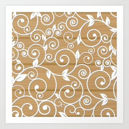 White floral swirls on wood texture Art Print