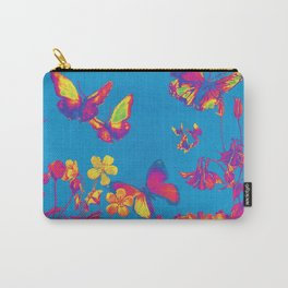 Blue Butterflies & Flowers Carry-All Pouch