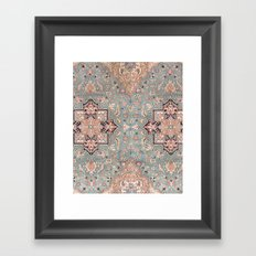 Persian carpet with heriz pattern pink, peach and blue Framed Art Print