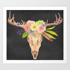 Deer Skull and Flowers Art Print