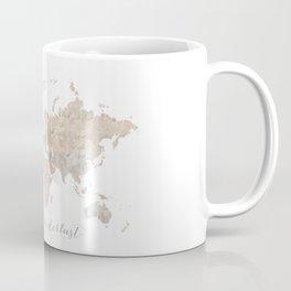 Wanderlust watercolor world map with compass rose Coffee Mug