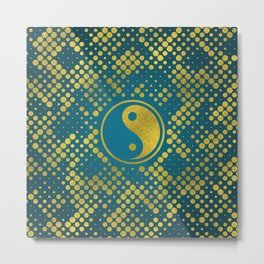 Beautiful Golden Yin yang on circular pattern on blue teal Metal Print