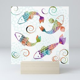 Koi - White Stream Mini Art Print