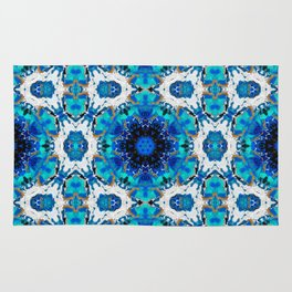 Ripples (Blue, White, Black & Gold Acrylic - 60° Kaleidoscope Pattern Small) Rug