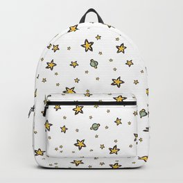 Starry Sky Seamless Vector Pattern, Hand Drawn Illustration Yellow Stars Galaxy Backpack