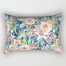 Navy MAUI MINDSET Colorful Tropical Floral Rectangular Pillow