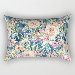 Navy MAUI MINDSET Colorful Tropical Floral Rectangular Pillow