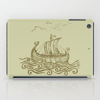 rowing iPad Cases featuring Viking ship by mangulica