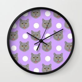 Kai - British shorthair cat gifts for cat lovers and cat lady gifts.  Cat people gifts Wall Clock