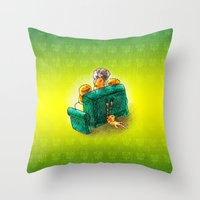 sofa Throw Pillows featuring Family sofa by Bakal Evgeny
