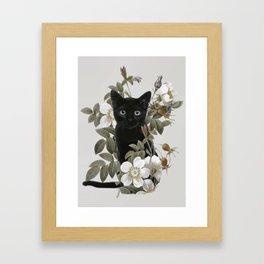 Cat With Flowers Framed Art Print