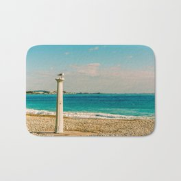 Seacoast of Cagnes-sur-Mer in a sunny winter day Bath Mat