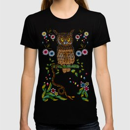 Vibrant Jungle Owl and Snake T-shirt