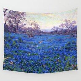 Bluebonnets at Twilight, mountain-desert landscape painting by Robert Julian Onderdonk Wall Tapestry