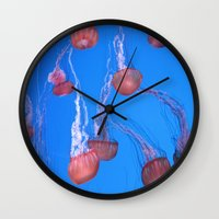 jelly fish Wall Clocks featuring Jelly fish by Digipix604