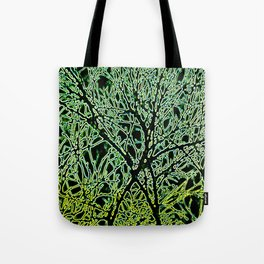 Tangled Tree Branches in Leaf and Lime Green Tote Bag