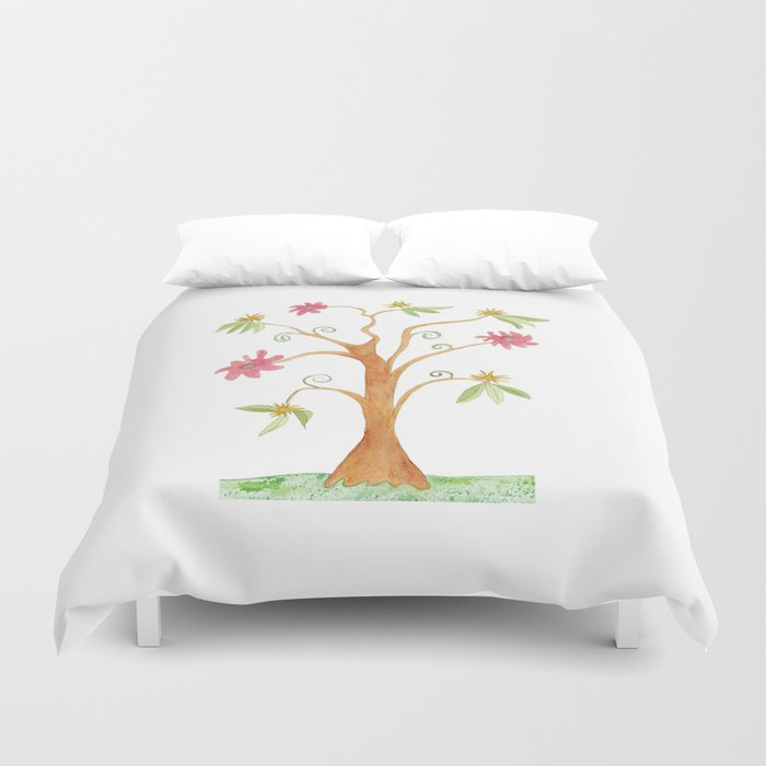 Surrealist tree in bright colors Duvet Cover