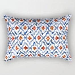 blue rhombus balinese ikat mini Rectangular Pillow