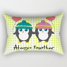 Cute penguins always together Rectangular Pillow