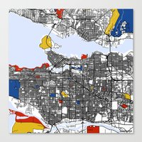 vancouver Canvas Prints featuring Vancouver by Mondrian Maps