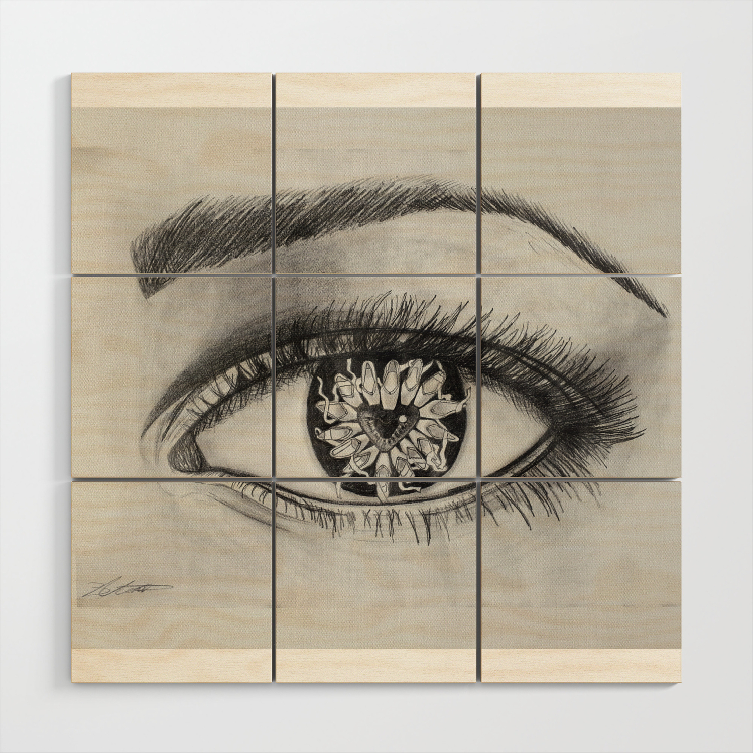 Ballet Meets The Eye Dancer Drawing Wood Wall Art By Mantoartistry Society6