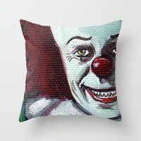 pennywise Throw Pillows featuring Pennywise the Clown by Minerva Torres-Guzman