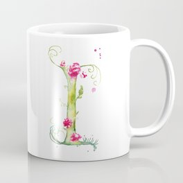 Letter I watercolor - Watercolor Monogram - Watercolor typography - Floral lettering Coffee Mug