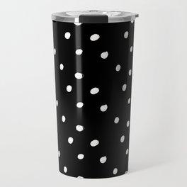 white tiny polka dots on black - Mix & Match with Simplicty of life Travel Mug