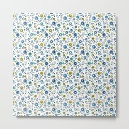 indigo blues floral pattern Metal Print
