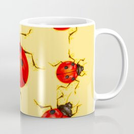 CREAMY YELLOW ART  RED LADY BUGS  DESIGN Coffee Mug