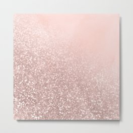 Rose Gold Sparkles on Pretty Blush Pink VI Metal Print