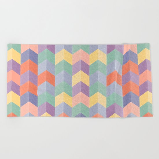Colorful geometric blocks Beach Towel