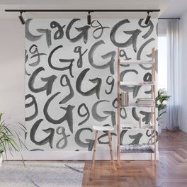 Watercolor G's - Grey Gray Wall Mural