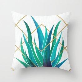 Modern Succulent - metallic accents Throw Pillow