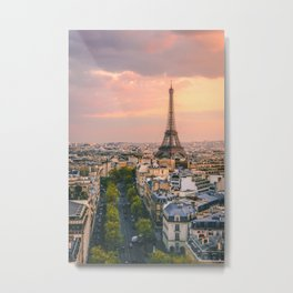 Sunset at Eiffel Tower (France) Metal Print