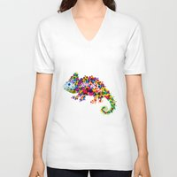 chameleon V-neck T-shirts featuring Chameleon by RAW-CUT