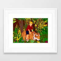 hobbes Framed Art Prints featuring Calvin & Hobbes by Miss Pepper Cat