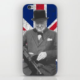 Winston Churchill Posing With A Tommy Gun iPhone Skin