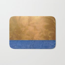 Copper Metallic With Tuscan Blue Stripe Trim Bath Mat