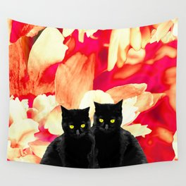 Two Black Cats with Floral Pattern Background #decor #society6 #buyart Wall Tapestry