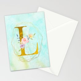 Gold Foil Alphabet Letter L Initials Monogram Frame with a Gold Geometric Wreath Stationery Cards