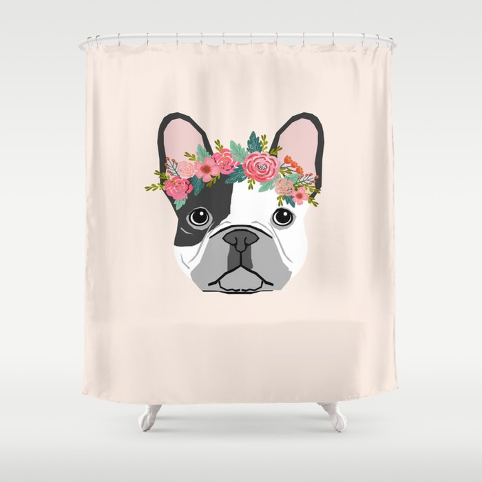 French Bulldog dog breed floral crown frenchies lover pure breed gifts Shower Curtain