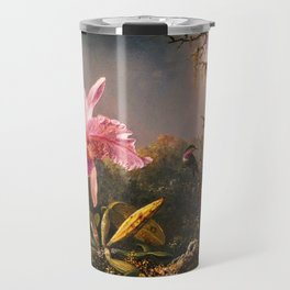 Martin Johnson Heade Cattleya Orchid and Three Brazilian Hummingbirds Travel Mug