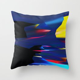 Blue Glitch Streak Throw Pillow