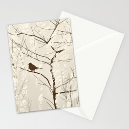 Mockingbird in Tree Graphic Nature Silhouette Brown and Cream Stationery Cards