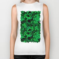 camouflage Biker Tanks featuring Camouflage (Green) by 10813 Apparel